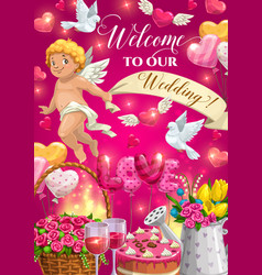 cupid with wedding cake gifts and love hearts vector image