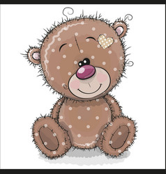 Cute cartoon teddy bear on a white background vector