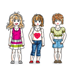 cute happy little girls posing wearing casual vector image