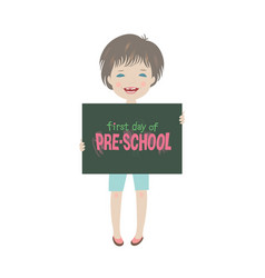 Cute smiling child first day of pre-school vector