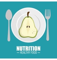Delicious half pear nutrition healthy food concept vector
