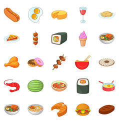 Dinner break icons set cartoon style vector