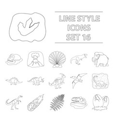 Dinosaurs and prehistoric set icons in outline vector
