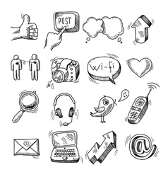 Doodle social icons set vector