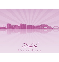 Duluth skyline in purple radiant orchid vector