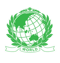 Earth green globe in laurel wreath vector
