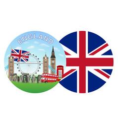 england flag and landmark round logo vector image