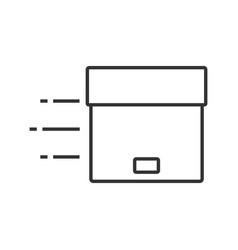 Flying parcel linear icon vector