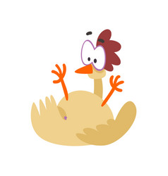 Funny hen fell on its back comic cartoon chicken vector