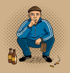 Gopnik hooligan man pop art vector