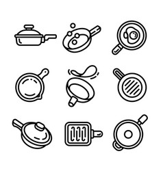 Griddle icon set outline style vector