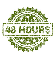 Grunge textured 48 hours stamp seal vector