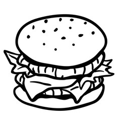 Hamburger line drawing vector