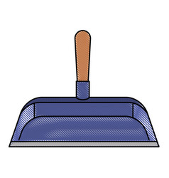 Hand dustpan with wooden stick in colored crayon vector