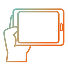 hand human with tablet device isolated icon vector image
