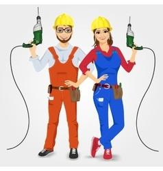 Handyman and handywoman holding green drills vector
