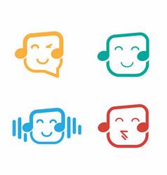 Hearing music logo design template vector
