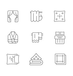 home textile products linear icons set vector image