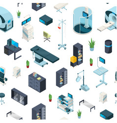 isometric hospital icons pattern vector image