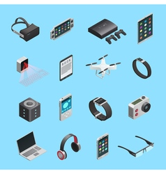 Isometric icons set of gadgets vector