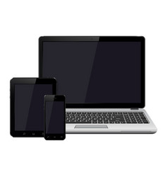 Laptop smartphone and tablet with blank screen vector
