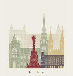 linz skyline poster vector image vector image