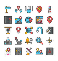Maps and navigation colored icons set 8 vector