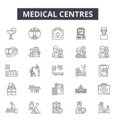 medical centres line icons signs set vector image