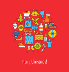 Merry christmas round concept poster with text vector