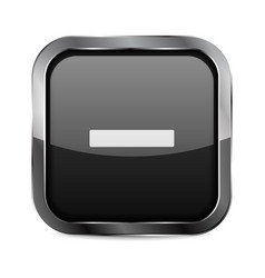 minus button black glass 3d icon with metal frame vector image