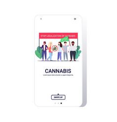 mix race people holding ban drug sign marijuana vector image