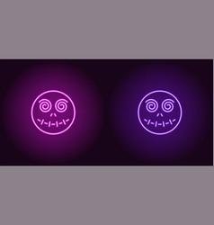 neon zombie head in purple and violet color vector image