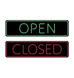 Open and Closed door neon Sign vector