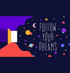 Open door with universe dreams modern flat vector