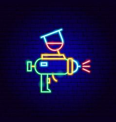 Paint gun neon sign vector