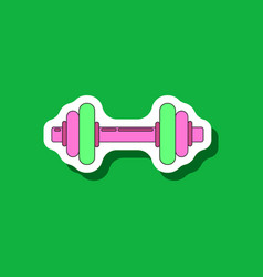 paper sticker on stylish background dumbbell vector image