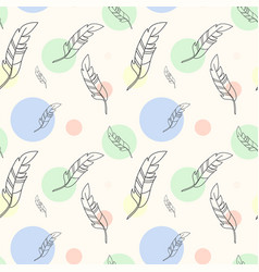 pastel seamless pattern with feathers and colorful vector image