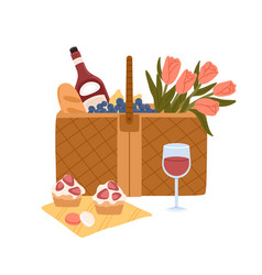 Picnic basket with delicious food for outdoor vector