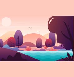 Picturesque landscape flat style vector