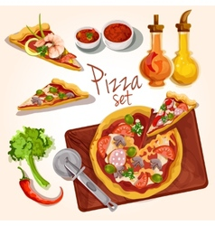 Pizza ingredients set vector