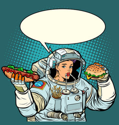 pop art woman astronaut eats cola hot dog and vector image