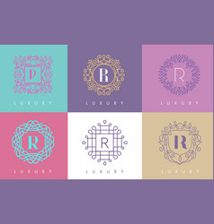 R letter pastel floral monogram lines logo design vector