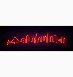 red neon skyline san francisco city bright vector image