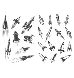Rockets spaceship cartoon retro icons set vector