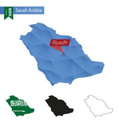 Saudi arabia blue low poly map with capital riyadh vector