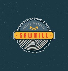 sawmill logo retro styled woodwork emblem vector image