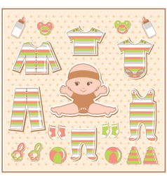 Scrapbook elements with baby clothes vector