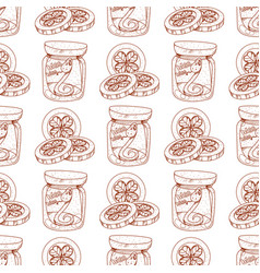 seamless pattern with a snake in a glass jar and vector image