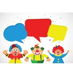 Set of colorful clowns with speech bubbles vector