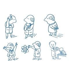 Set of doodle scientists vector